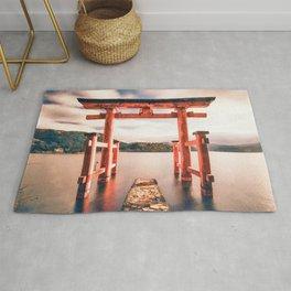 Hakone, onsen, Japan watercolor painting  Rug