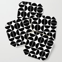 Mid Century Modern Geometric 04 Black Coaster