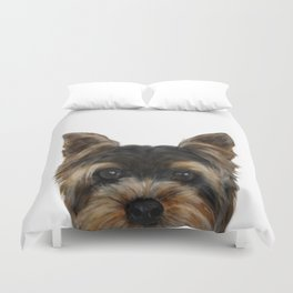 Yorkshire Terrier Mix colorDog illustration original painting print Duvet Cover