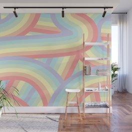 Soft Pastel Rainbow Stripes Pattern Wall Mural