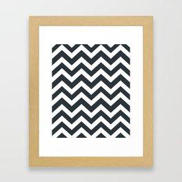 Gunmetal - grey color - Zigzag Chevron Pattern Framed Art Print