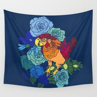 parrot Wall Tapestries featuring Parrot by sandrine
