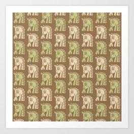Mid Century Horse Pattern Brown Sage and Beige Art Print