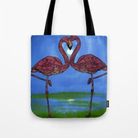 flamingos Tote Bags featuring Flamingos by Ben Geiger