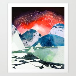 Mountains and Icebergs with Boat Art Print