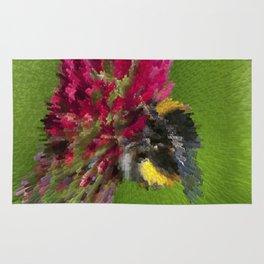 Bee on red flower Rug