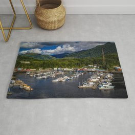 Alaska Ketchikan mountain Forests Pier Yacht Motorboat Cities Building Mountains forest Berth Marinas speedboat powerboat Houses Rug