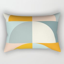 Summer Evening Geometric Shapes in Soft Blue and Orange Rectangular Pillow