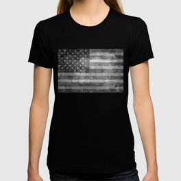 Black and White USA Flag in Grunge T-shirt