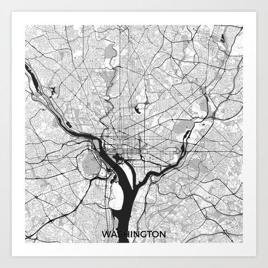 Washington Map Gray Art Print
