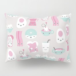 Kawaii breakfast good morning pattern with eggs coffee bacon and tea Pillow Sham