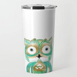 Owl Fun #4 #mint #green #gold #drawing #decor #art #society6 Travel Mug