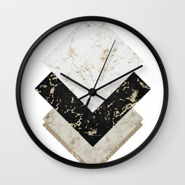 Scandinavian Geometric | Black Gold White Marble Wall Clock