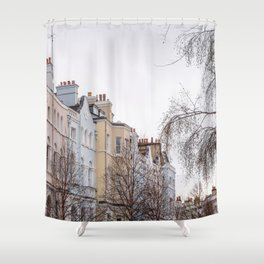 Colorful Notting Hill Apartment Buildings in London Shower Curtain
