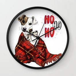 Hand Drawn Jack Russell Terrier Dog Portrait Snuggled in Plaid Blanket Wall Clock