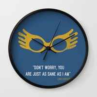 "luna lovegood Wall Clocks featuring ""Don't worry you are just as sane as i am"" Luna Lovegood by :: Fan art ::"