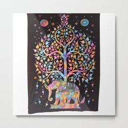 Indian elephant with tree tapestry Metal Print