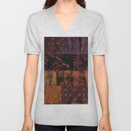 Bohemian fiber art, dark red copper gold mixed media Unisex V-Neck