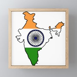 India Map with Indian Flag Framed Mini Art Print
