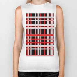 Lines stripes black red 02 Biker Tank