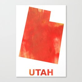 Utah map outline Tomato stained watercolor texture Canvas Print