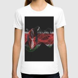 Kenya Smoke Flag on Black Background, Kenya flag T-shirt