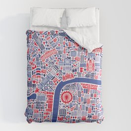 London City Map Poster Comforters