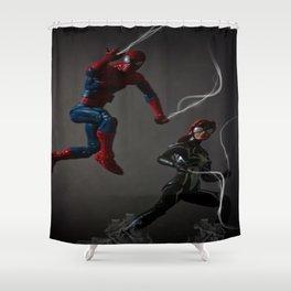 Web Kickin' Ass Time Shower Curtain
