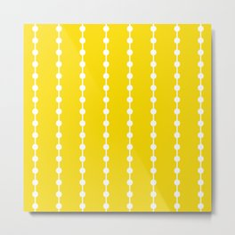 Geometric Droplets Pattern Linked - Summer Sunshine Yellow and White Metal Print