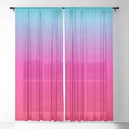 Blue purple and pink ombre flames Sheer Curtain