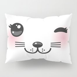 Kawaii funny cat with pink cheeks and winking eyes on white background Pillow Sham