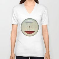 agnes V-neck T-shirts featuring embracing the rain by Vin Zzep