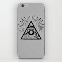 all seeing eye iPhone & iPod Skins featuring ILLUMINATI ALL SEEING EYE by HAUS OF DEVON