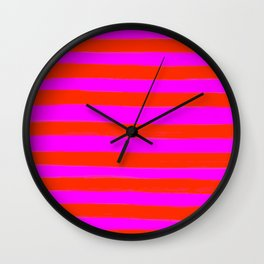 Sweet Stripes in Pink and Red Line Art #decor #society6 #buyart Wall Clock