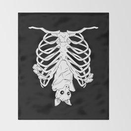 Cute Bat in Ribcage Throw Blanket