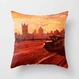 London Taxi Big Ben Sunset with Parliament Throw Pillow