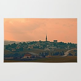 Hazy scenery with beautiful village skyline | landscape photography Rug