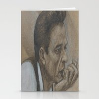 johnny cash Stationery Cards featuring Johnny Cash by Tex Bigrancher