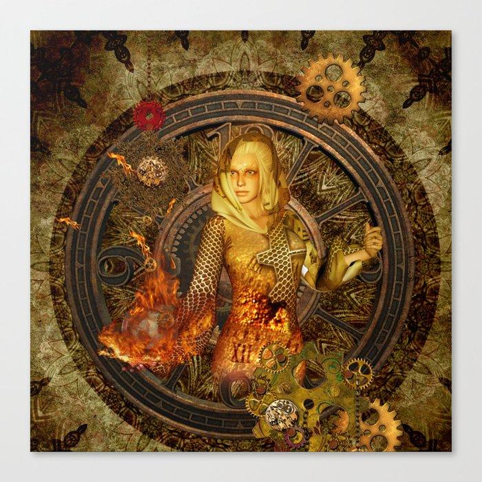 Wonderful steampunk lady Canvas Print