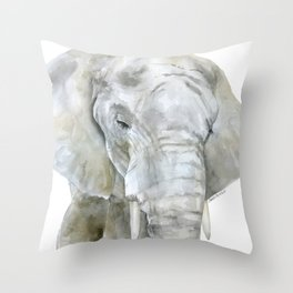 Elephant Watercolor Painting - African Animal Throw Pillow