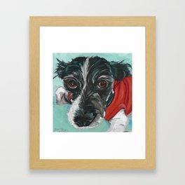 Black and White Dog Portrait Framed Art Print