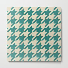 Turquoise Houndstooth Metal Print