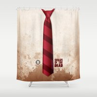 shaun of the dead Shower Curtains featuring SHAUN OF THE DEAD by VineDesign