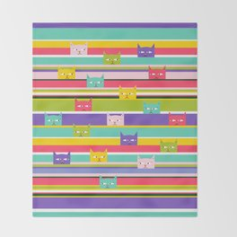 Colorful Peeking Cats on stripes Throw Blanket