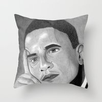 obama Throw Pillows featuring Obama  by Lupo Solitario