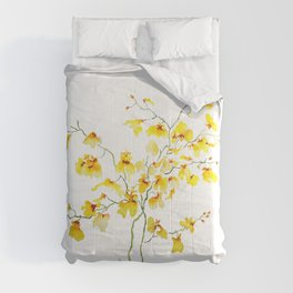 yellow Oncidium Orchid watercolor Comforters