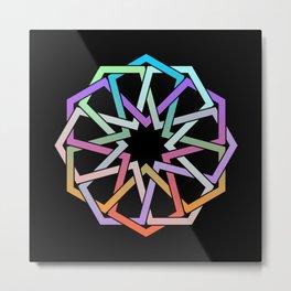 Geometric Art - Hexagon Rose Metal Print