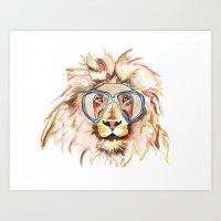 scuba Art Prints featuring Scuba Lion by Kristen Williams