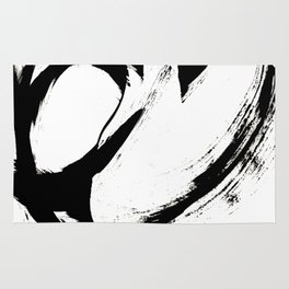Brushstroke 6: a minimal, abstract, black and white piece Rug
