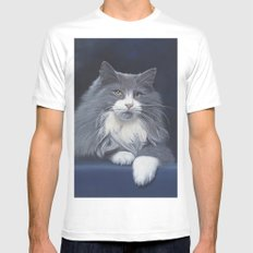 blue MEDIUM White Mens Fitted Tee